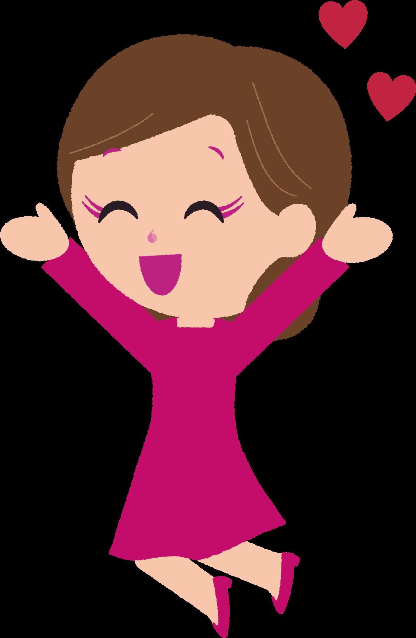 万歳ポーズ女性イラスト / 嬉しい・喜び | 可愛い無料イラスト素材集