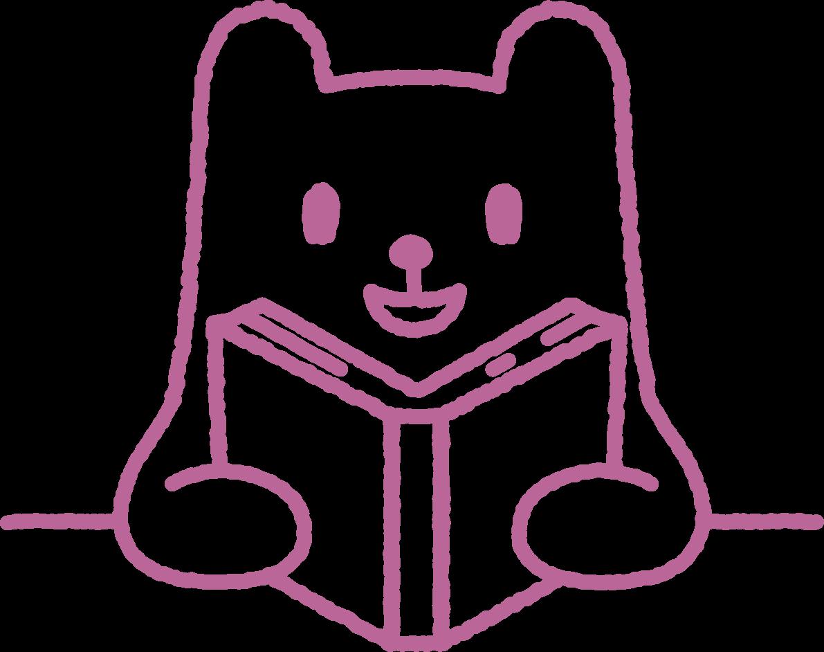 読書イラスト、かわいいクマ ... : 動物カード : カード