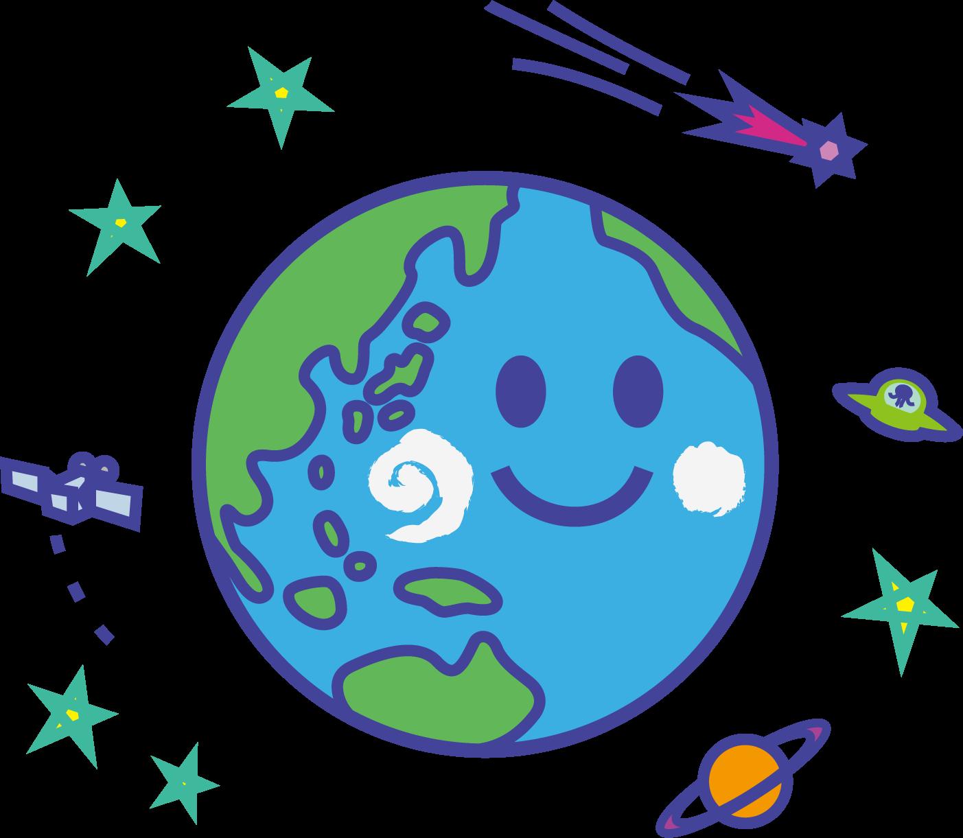 地球のイラスト・顔付き / 元気な緑・環境問題・世界平和の表現