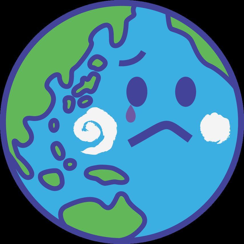 地球のイラスト 顔付き 元気な緑 環境問題 世界平和の表現 可愛い無料イラスト素材集