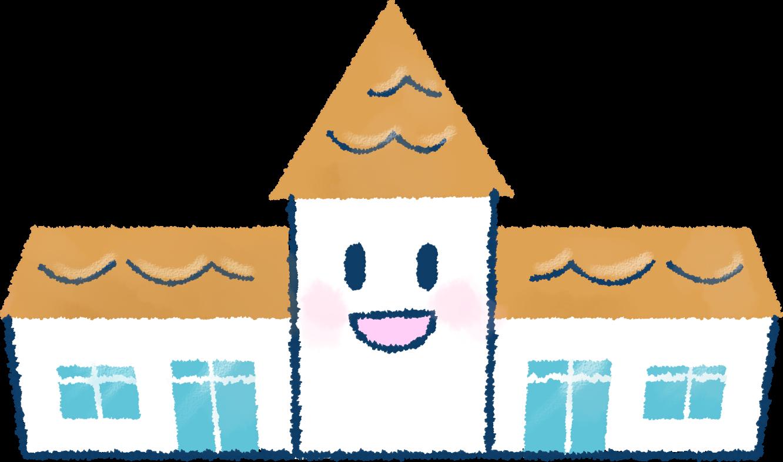 幼稚園・保育園の園舎イラスト / 春の広報、園だよりに   可愛い無料