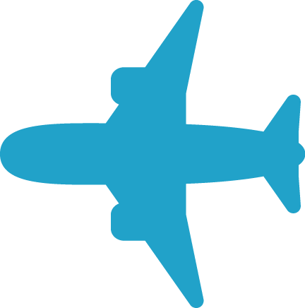 飛行機・水色シルエット