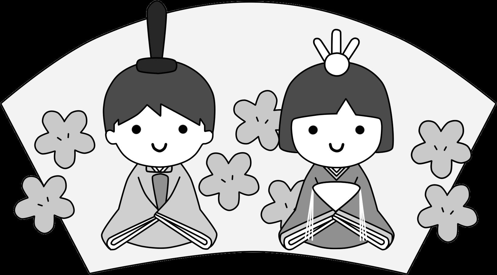 園児のお内裏様とお雛様白黒・モノクロ / 保育イラスト | 可愛い無料