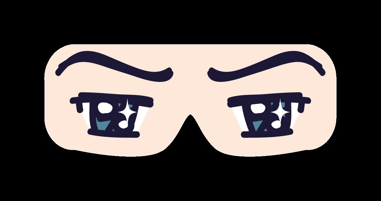 マンガ、アニメタイプの目でアイマスク / 目線・目隠し加工