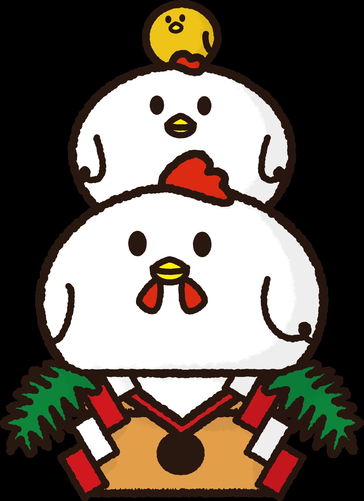 酉年用鏡餅イラスト / 鶏とヒヨコで | 可愛い無料イラスト素材集
