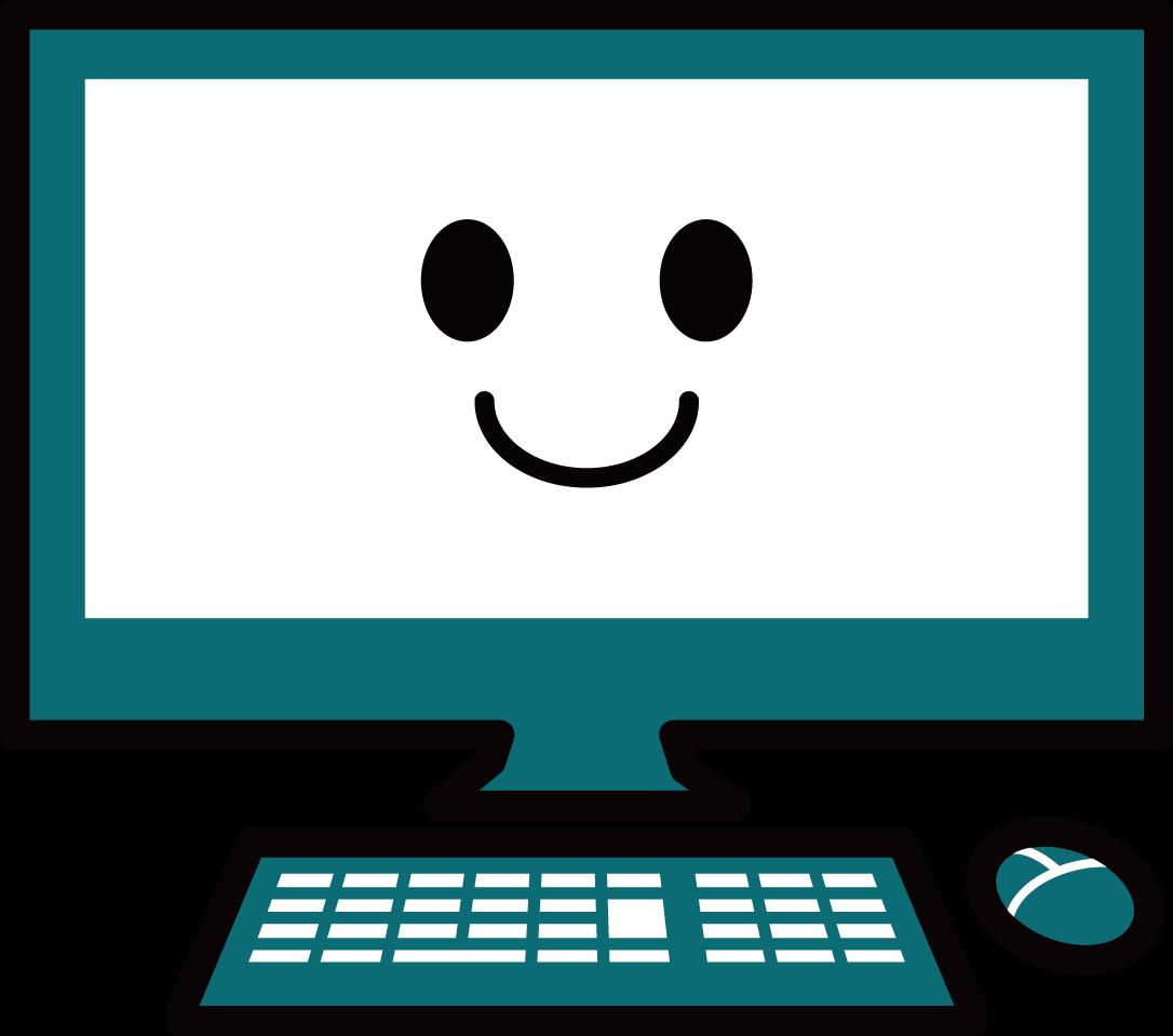 かわいいパソコンイラスト / pc教室マスコットなどに | 可愛い無料