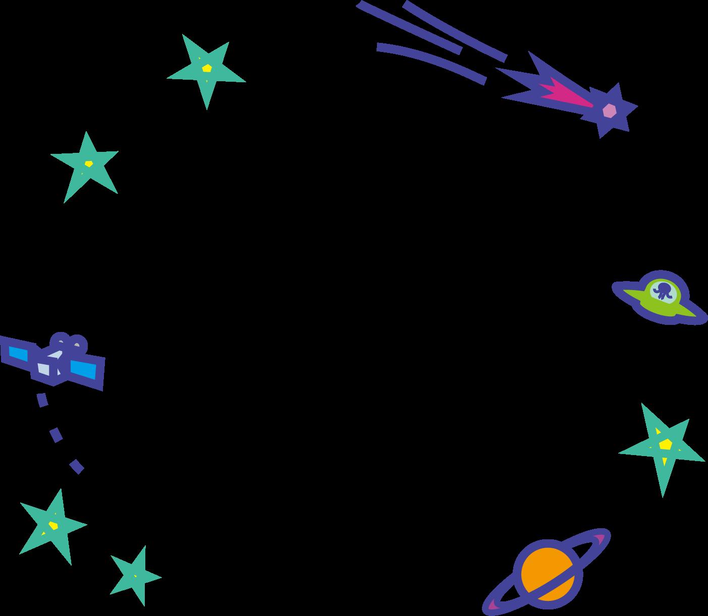 宇宙のイラスト / 人工衛星・ufo・彗星(流れ星)・土星 | 可愛い無料