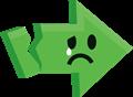 悲しい泣き顔矢印イラスト・緑