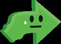 困った顔の矢印イラスト・緑