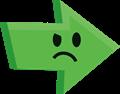 ムムっと怒りの矢印イラスト・緑