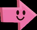 ニコリ笑顔の矢印イラスト・ピンク