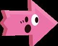ビックリ驚き矢印イラスト・ピンク