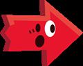 ビックリ驚き矢印イラスト・赤