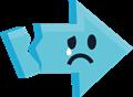 悲しい泣き顔矢印イラスト・水色