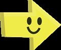 ニコリ笑顔の矢印イラスト・黄色