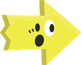 ビックリ驚き矢印イラスト・黄色