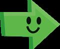 ニコリ笑顔の矢印イラスト・緑