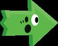 ビックリ驚き矢印イラスト・緑
