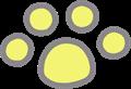 猫の足跡イラスト・黄色