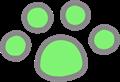 猫の足跡イラスト・緑色