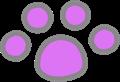 猫の足跡イラスト・紫色