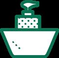 風呂桶とシャンプーボトルイラスト・白黒印刷用