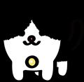 にっこり顔の黒白ぶち猫のイラスト