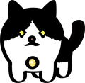 獲物を狙っている黒白ぶち猫のイラスト