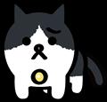 困った顔の黒白ぶち猫のイラスト