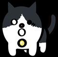 驚いた顔の黒白ぶち猫のイラスト