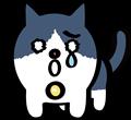 悲しい顔の黒白ぶち猫のイラスト
