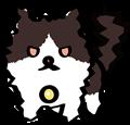 怒りに燃える黒白ぶち猫のイラスト