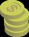 金貨コインイラスト・$マーク・4枚積み上げ