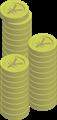 金貨コインイラスト・円マーク・3つのタワー積み上げ