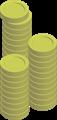 金貨コインイラスト・3つのタワー積み上げ