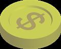 金貨コインイラスト・$マーク横置き