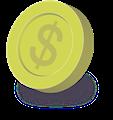 金貨コインイラスト・$マーク斜めシャドー付き