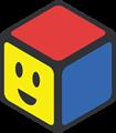 赤、青、黄色の立方体のイラスト・にっこり顔