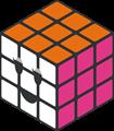 オレンジ・ピンク・白のルービックキューブのイラスト・にっこり顔