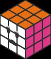 オレンジ・ピンク・白のルービックキューブのイラスト・困り顔