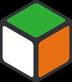 緑・オレンジ・白色の立方体のイラスト