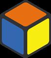 オレンジ・黄・青色の立方体のイラスト