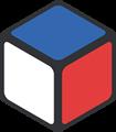 青・赤・白色の立方体のイラスト