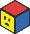 赤、青、黄色の立方体のイラスト・困り顔