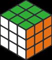 緑・オレンジ・白色のルービックキューブのイラスト