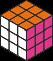 オレンジ・ピンク・白色のルービックキューブのイラスト