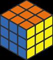 オレンジ・黄・青色のルービックキューブのイラスト
