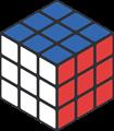青・赤・白色のルービックキューブのイラスト