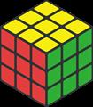 黄・緑・赤色のルービックキューブのイラスト