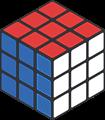 赤・青色2面透過ルービックキューブのフレームイラスト
